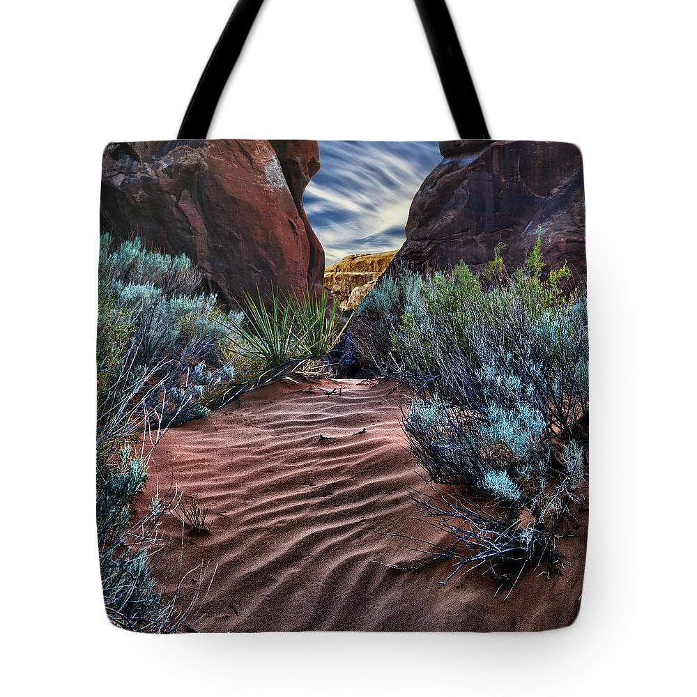 Navajo Sand Tote Bag featuring the photograph Sandy Trail Arches National Park by Gary Warnimont