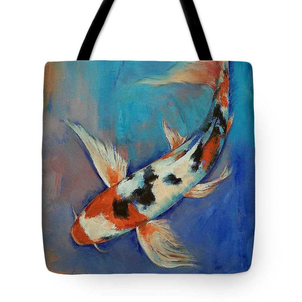Sanke Tote Bag featuring the painting Sanke Butterfly Koi by Michael Creese