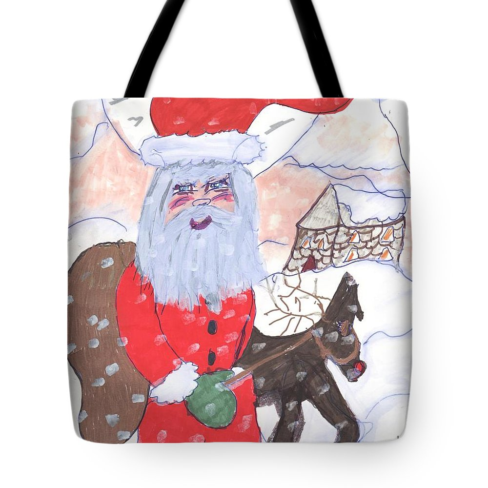 Santa And His Reindeer Standing Mountain Background Tote Bag featuring the mixed media Santa And His Reindeer by Elinor Helen Rakowski