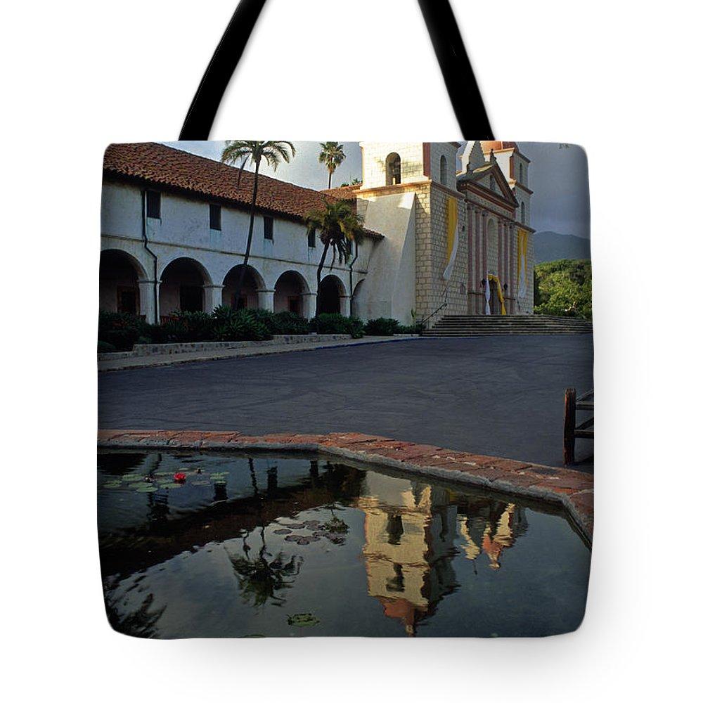 Santa Barbara Mission Tote Bag featuring the photograph Santa Barbara Mission Reflections by Kathy Yates