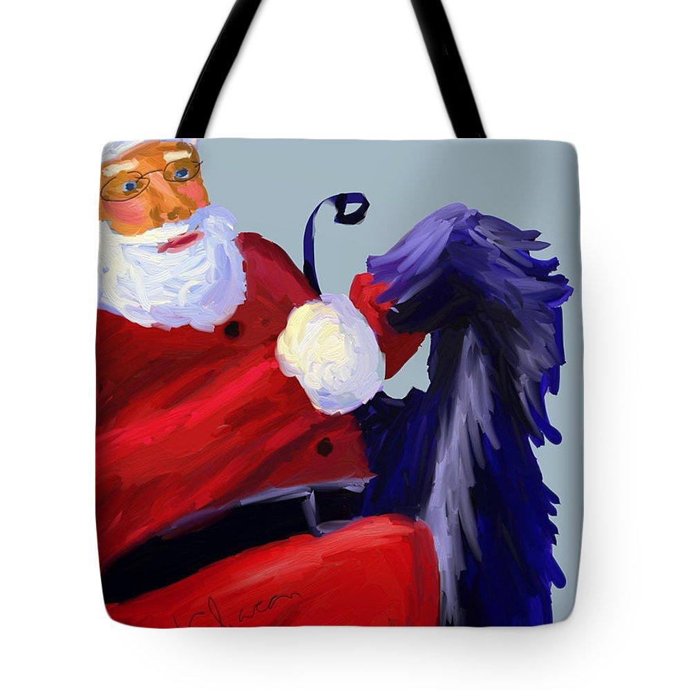 Santa Claus Tote Bag featuring the digital art Santa Blue by Terry Chacon