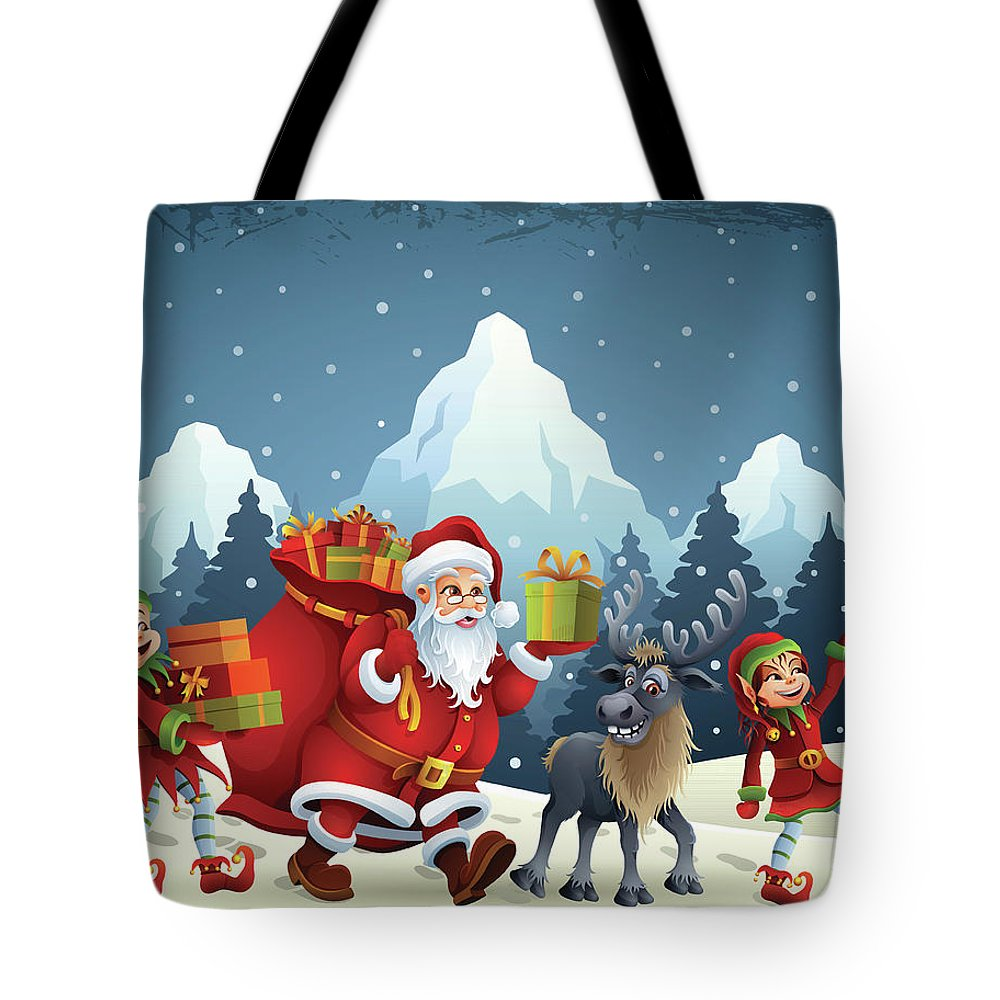 Scenics Tote Bag featuring the digital art Santa Claus Is Coming by Alonzodesign