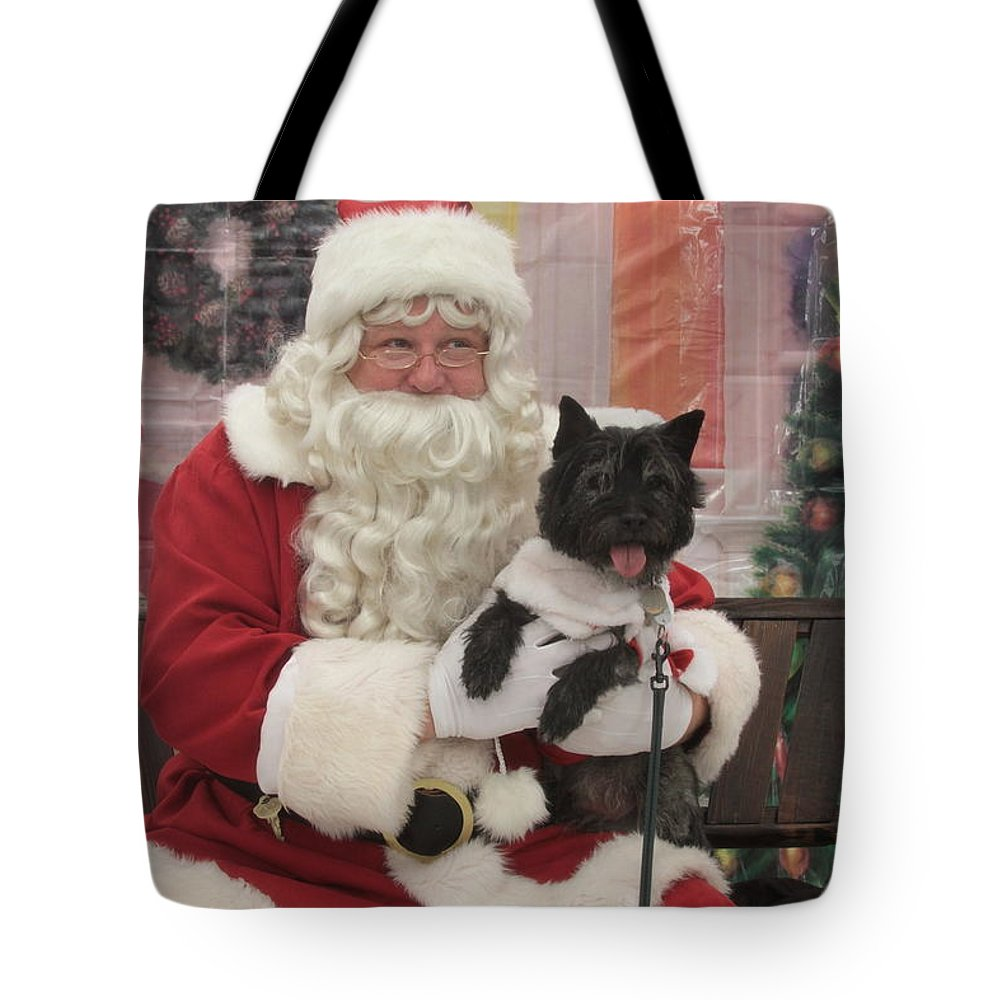 Little Black Dog Tote Bag featuring the photograph Santa Coming by Dwight Cook