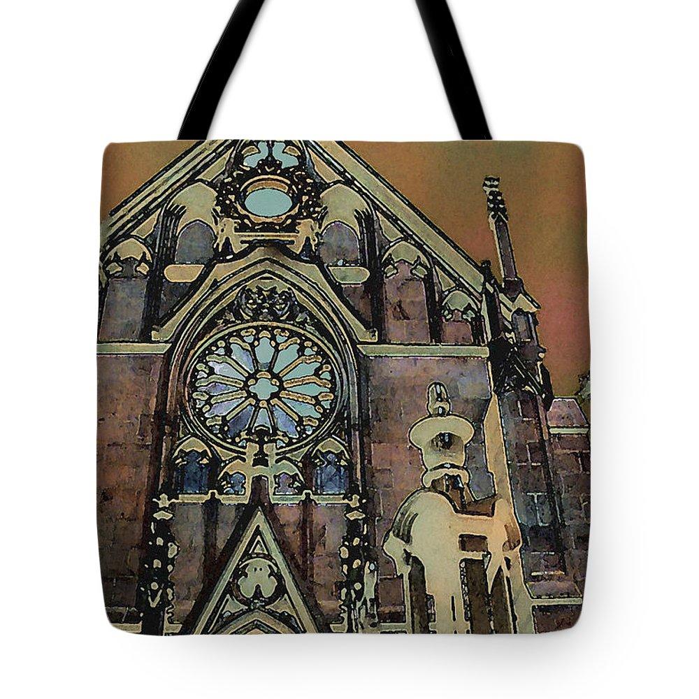 Digital Tote Bag featuring the digital art Santa Fe Cathedral by David Hansen