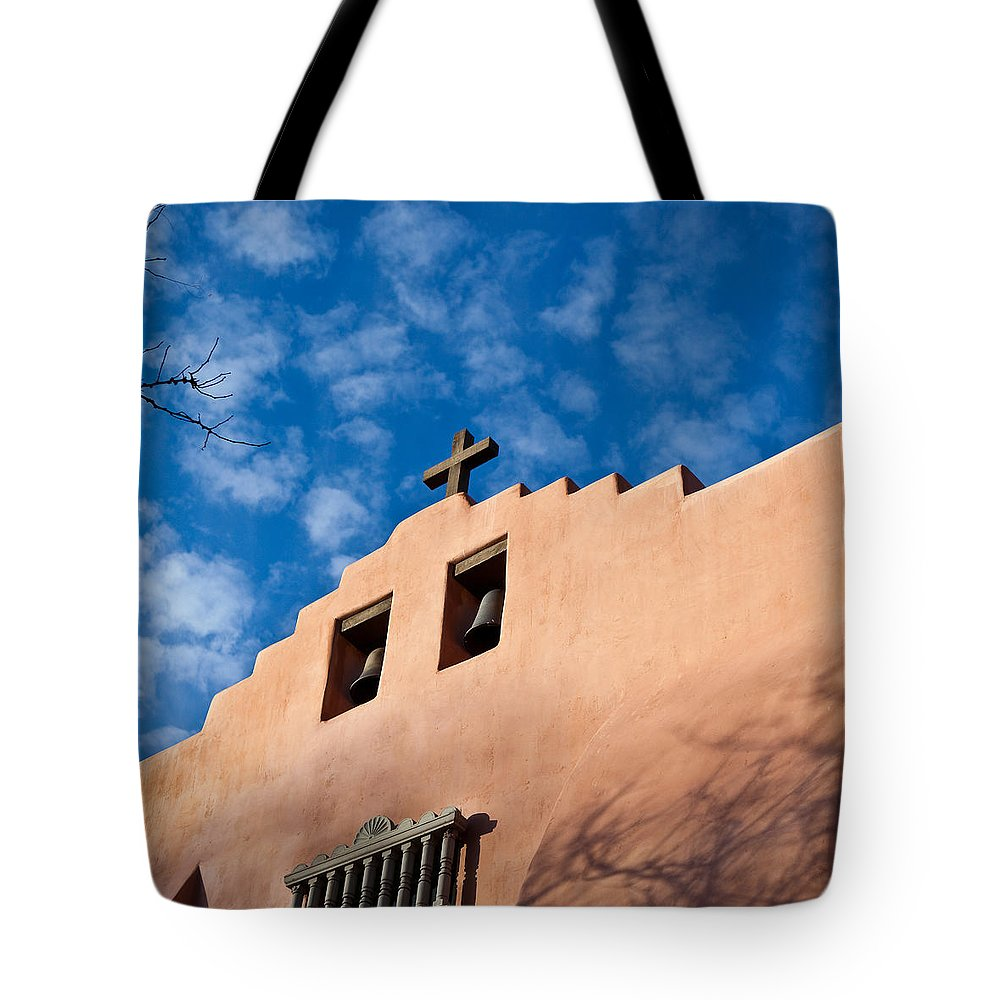 Santa Fe Tote Bag featuring the photograph Santa Fe Church by Art Block Collections