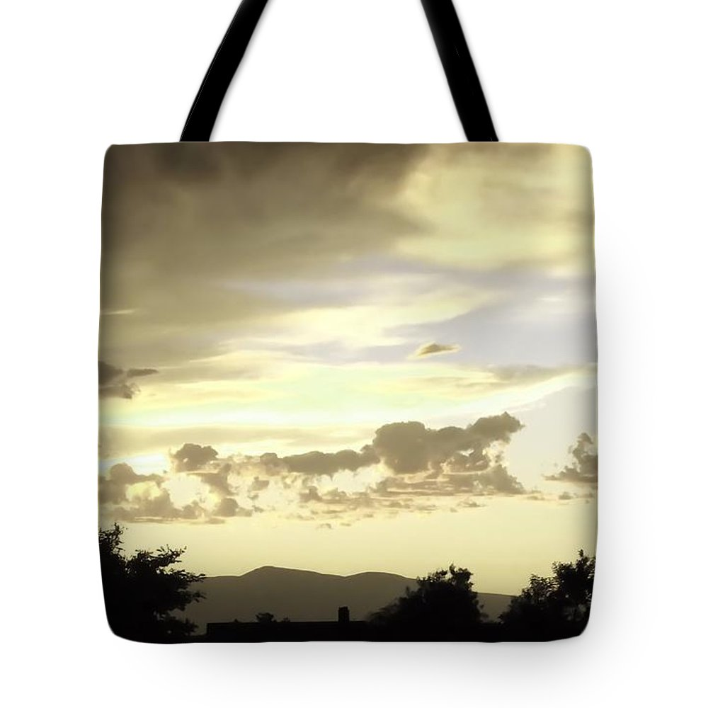 Digital Color Photo Tote Bag featuring the digital art Santa Fe Sunset by Tim Richards
