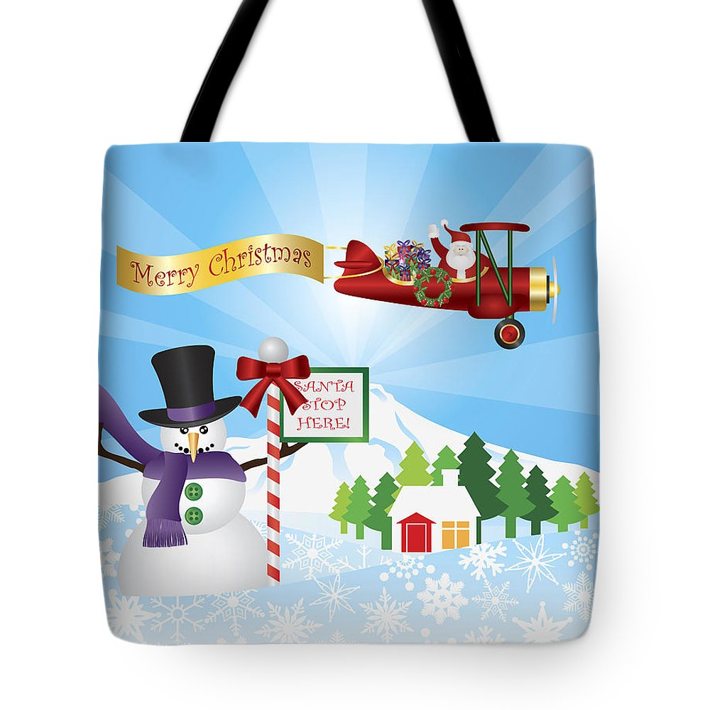 Santa Claus Tote Bag featuring the photograph Santa In Plane Flying Over Snow Scene by Jit Lim