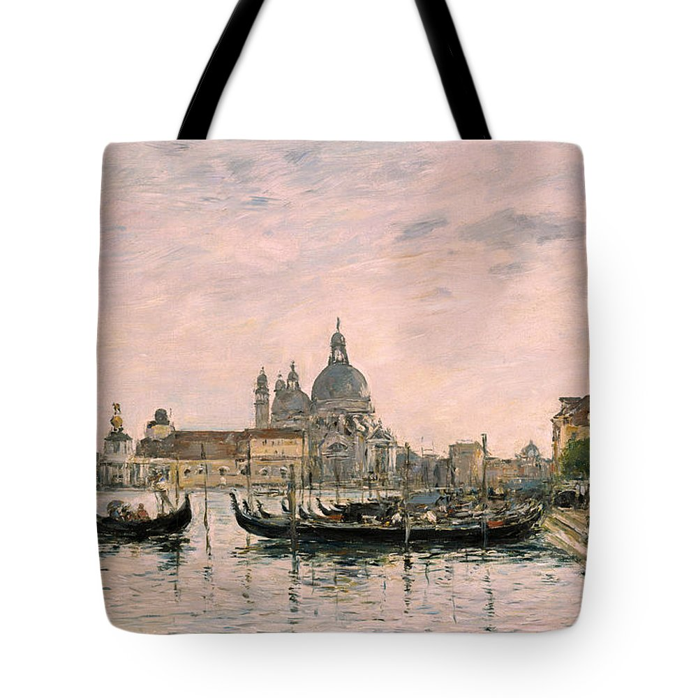 Venice Tote Bag featuring the painting Santa Maria Della Salute And The Dogana by Eugene Louis Boudin