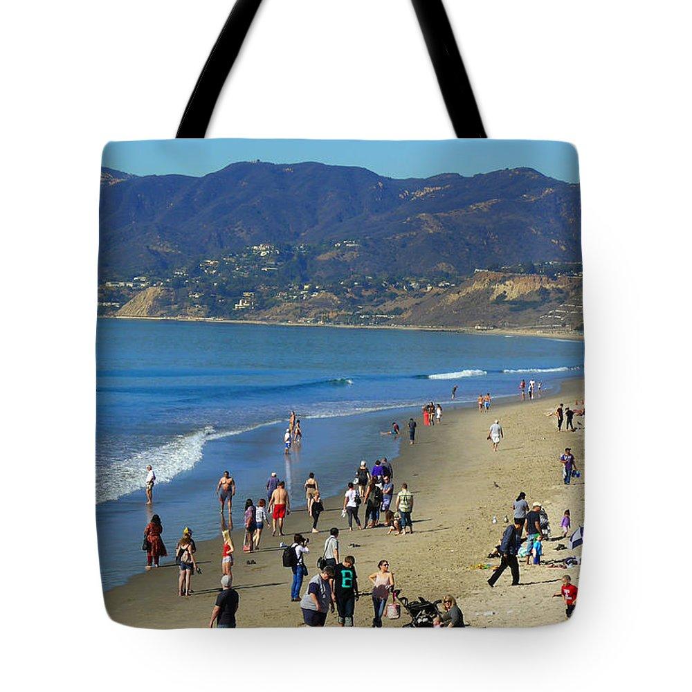 Beach Tote Bag featuring the photograph Santa Monica Beach by Joseph Schofield