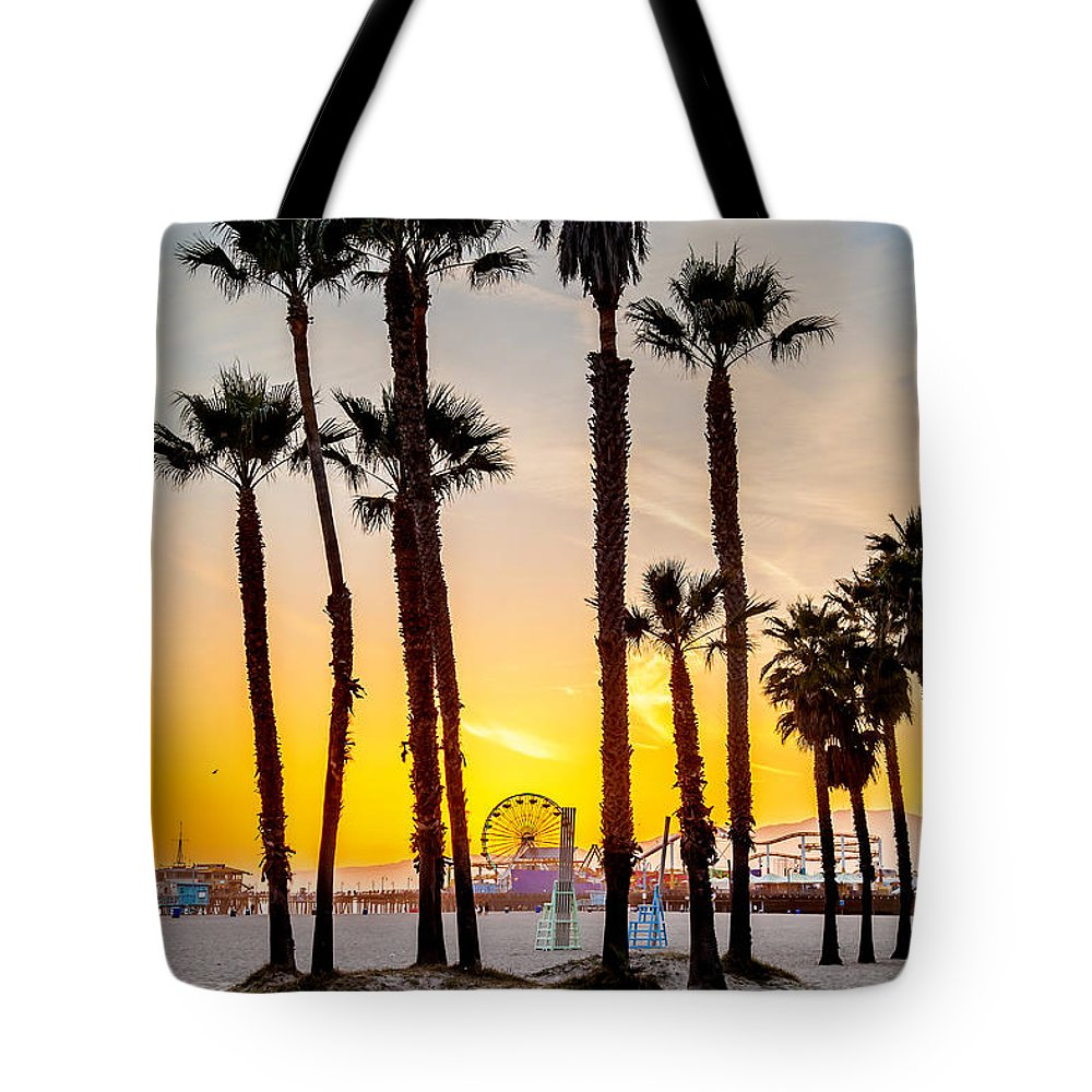 Los Angeles Tote Bag featuring the photograph Santa Monica Palms by Az Jackson