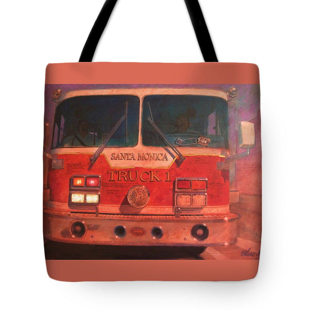 Paintings Tote Bag featuring the painting Santa Monica Truck One by Blue Sky