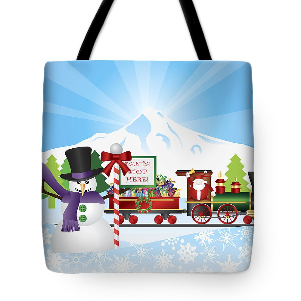 Santa Claus Tote Bag featuring the photograph Santa On Train With Snow Scene by Jit Lim