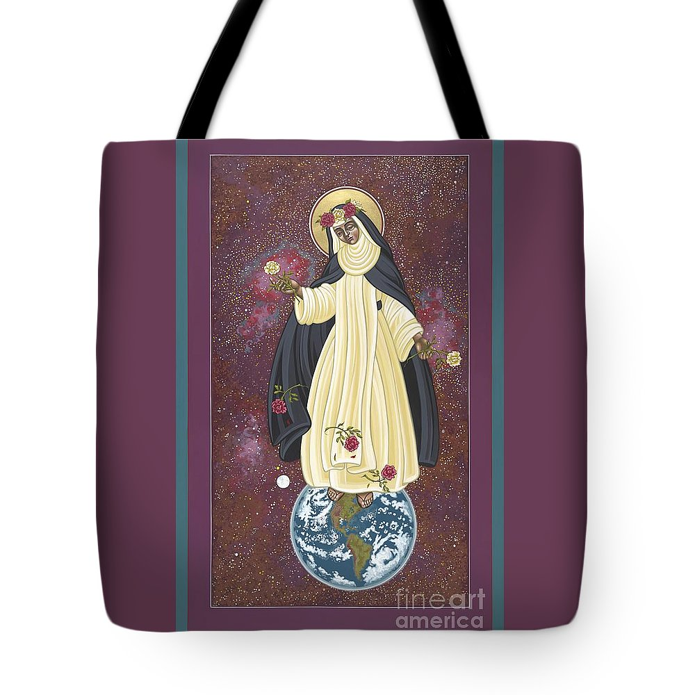 Santa Rosa Of The Cosmos Tote Bag featuring the painting Santa Rosa Patroness Of The Americas 166 by William Hart McNichols