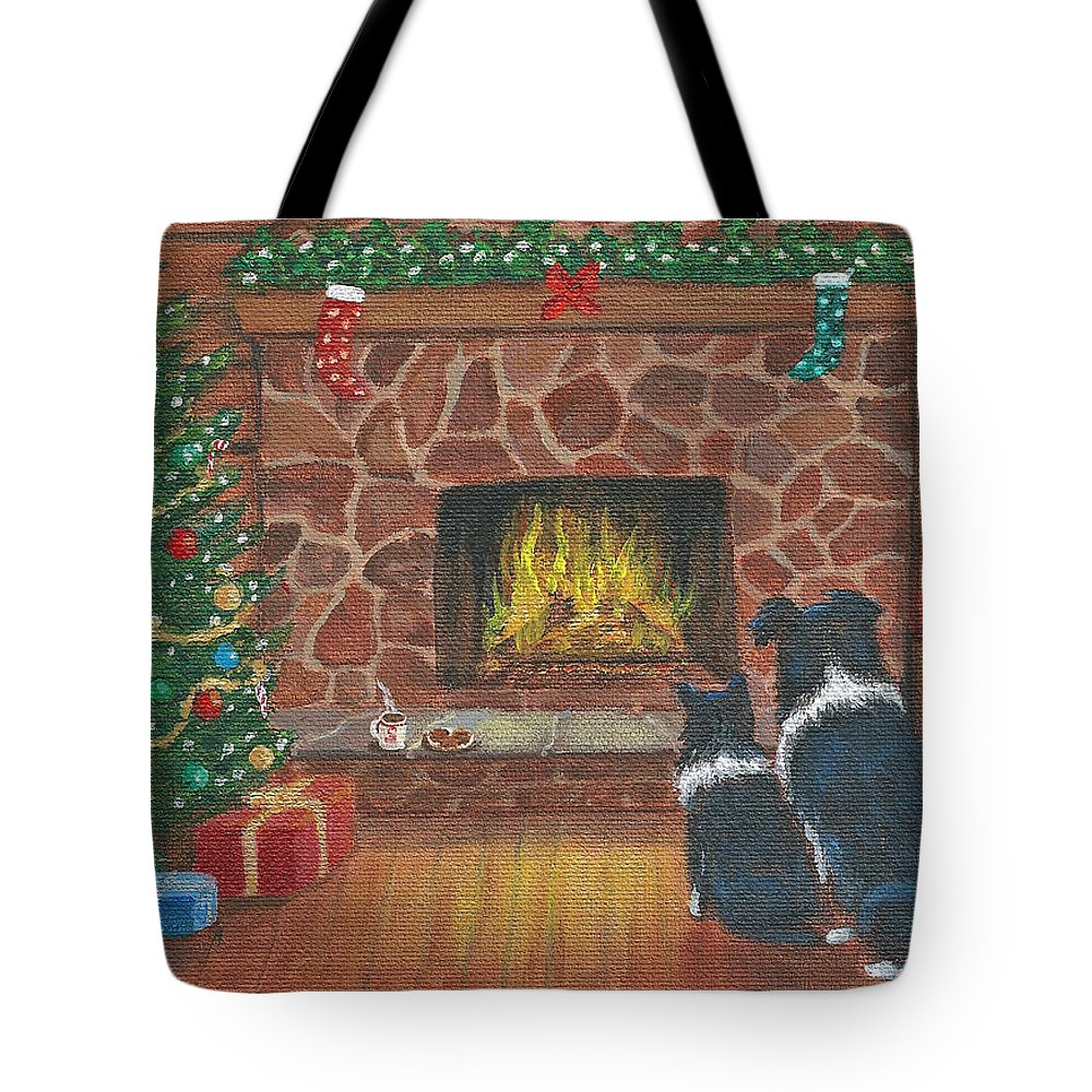 Santa Tote Bag featuring the painting Santa Watch by Fran Brooks
