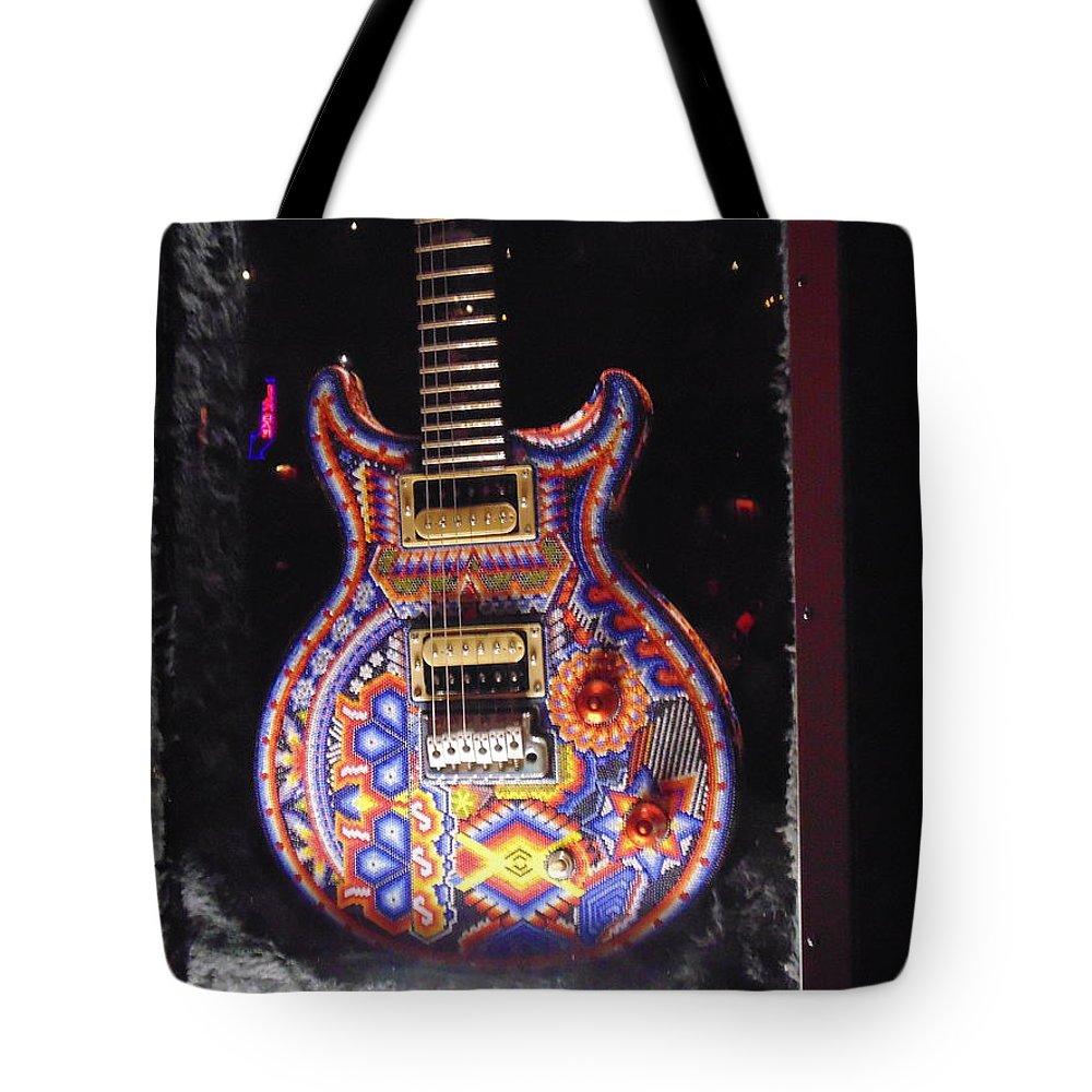 Santana Tote Bag featuring the photograph Santana Guitar by Dotti Hannum