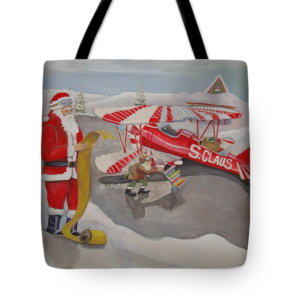 Rick Huotari Tote Bag featuring the painting Santa's Airport by Rick Huotari