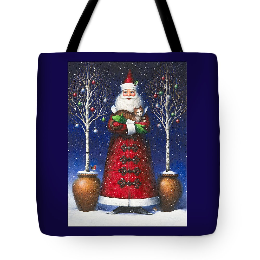 Santa Claus Tote Bag featuring the painting Santa's Cat by Lynn Bywaters