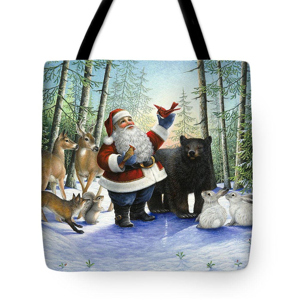 Santa Claus Tote Bag featuring the painting Santa's Christmas Morning by Lynn Bywaters