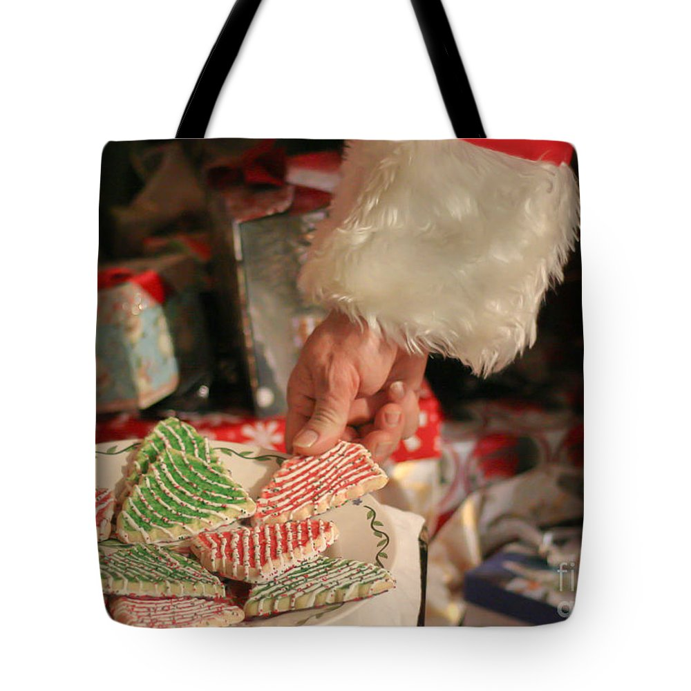 Santa Tote Bag featuring the photograph Santas Cookies by Mechala Matthews