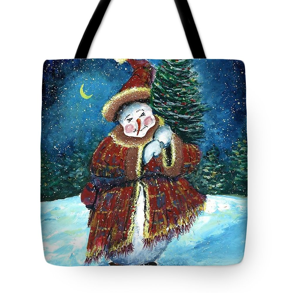 Santas Helper Tote Bag featuring the painting Santas Helper by Steven Schultz