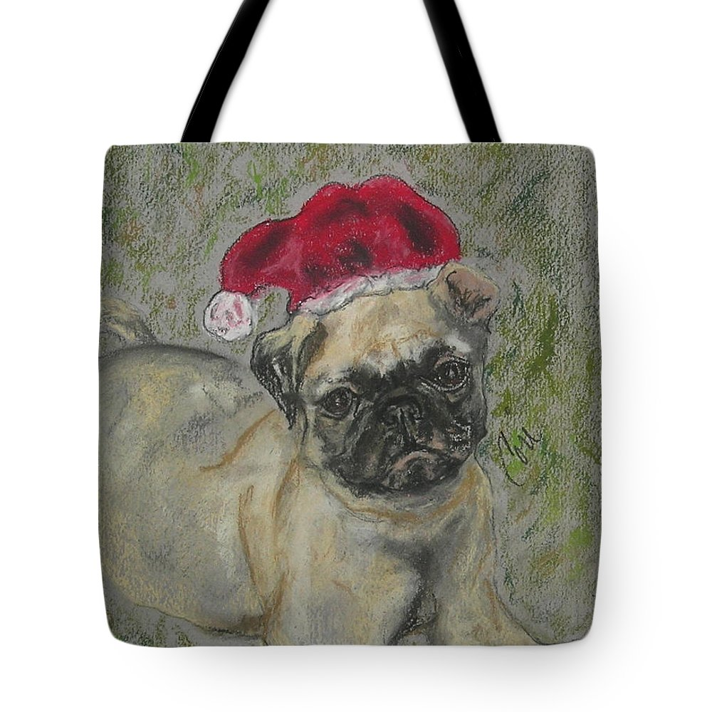 Pug Tote Bag featuring the drawing Santa's Little Pugster by Cori Solomon