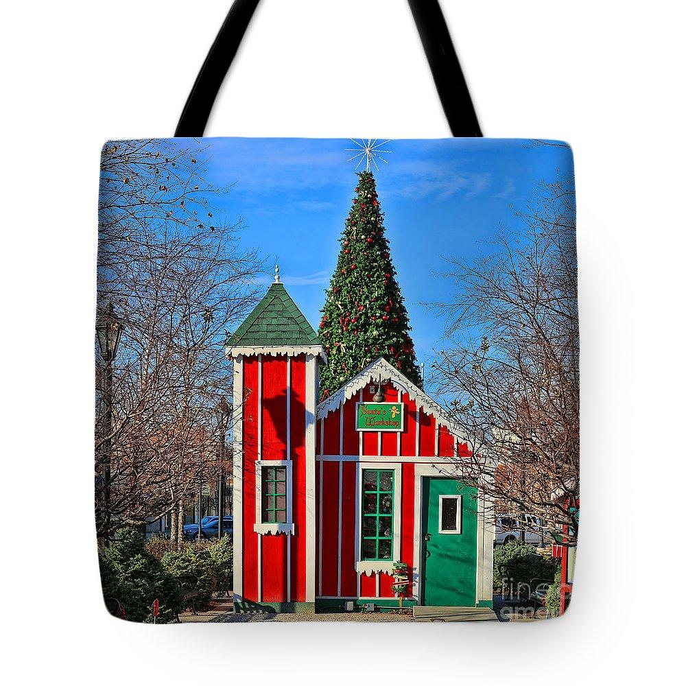 Santa's Workshop Tote Bag featuring the photograph Santas Workshop by Jack Schultz