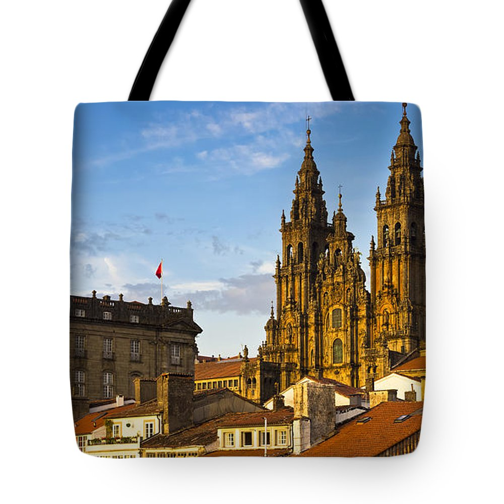 Panorama Tote Bag featuring the photograph Santiago De Compostela Cathedral Galicia Spain by Pablo Avanzini