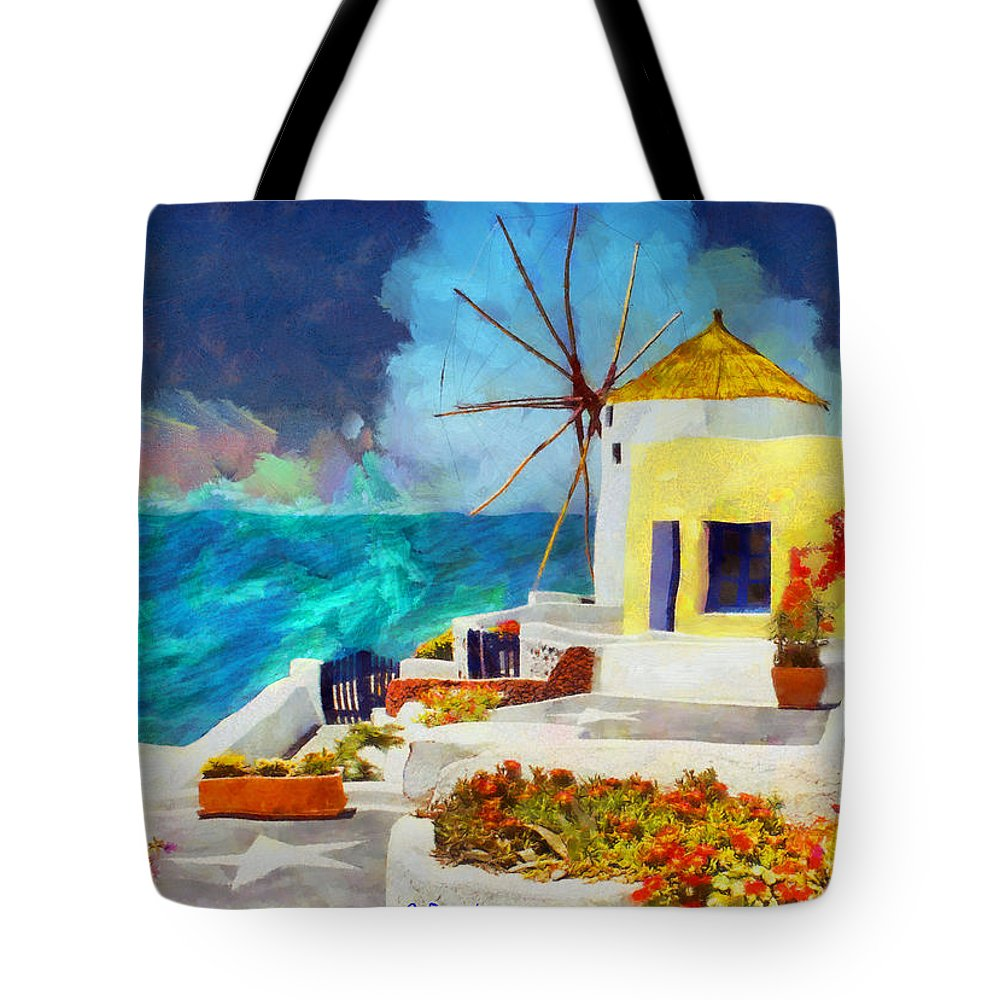 Rossidis Tote Bag featuring the painting Santorini Windmill by George Rossidis