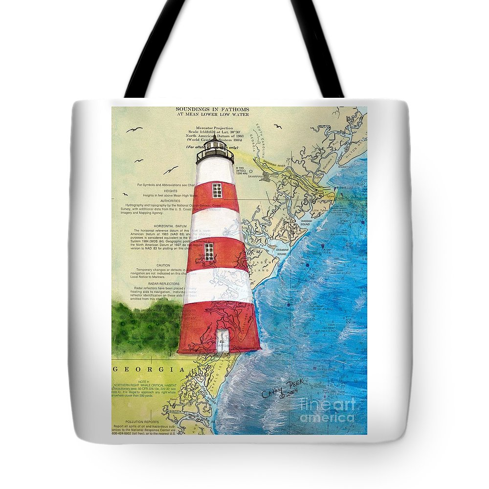 Sapelo Tote Bag featuring the painting Sapelo Island Lighthouse Ga Nautical Chart Map Art Cathy Peek by Cathy Peek