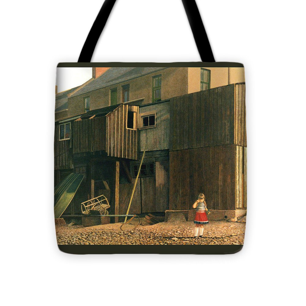 Ferryden Tote Bag featuring the painting Sara Eating Crisps Ferryden Scotland by Rodger Insh