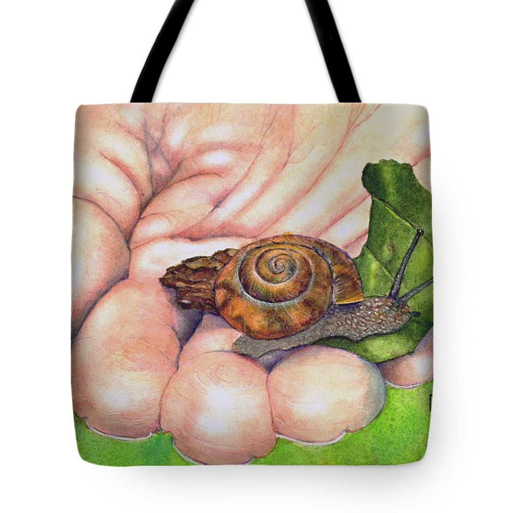 Snail Tote Bag featuring the painting Sarah's Snail by Marie Stone Van Vuuren