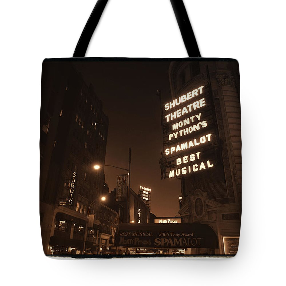 New York Tote Bag featuring the photograph Sardi's by Donna Blackhall