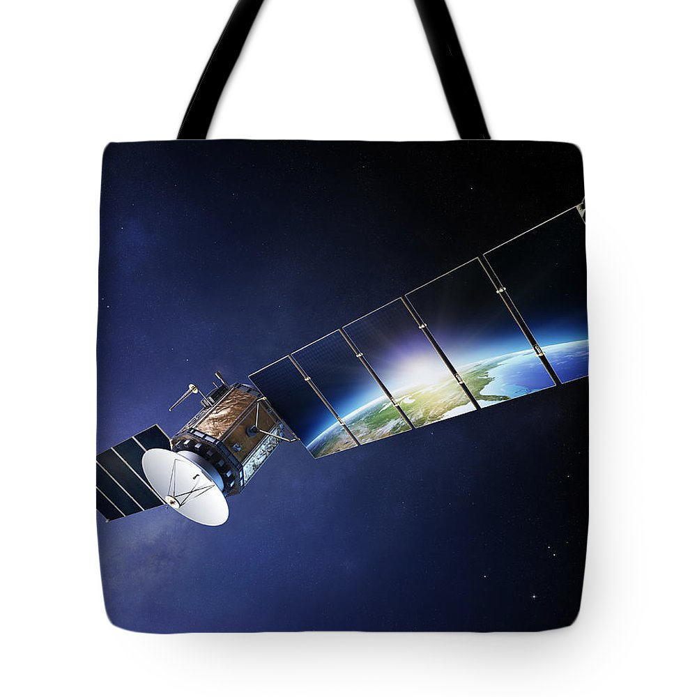 Satellite Tote Bag featuring the photograph Satellite Communications With Earth by Johan Swanepoel
