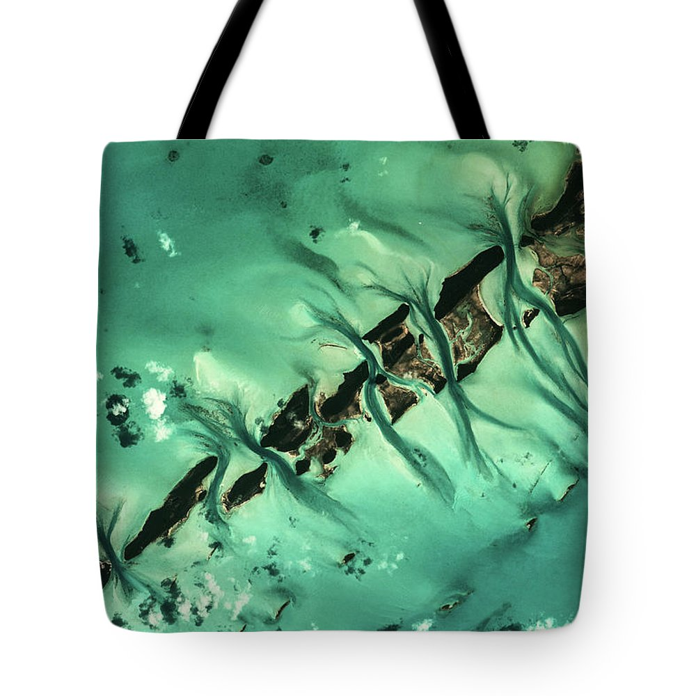 Photography Tote Bag featuring the photograph Satellite View Of Cays In North by Panoramic Images