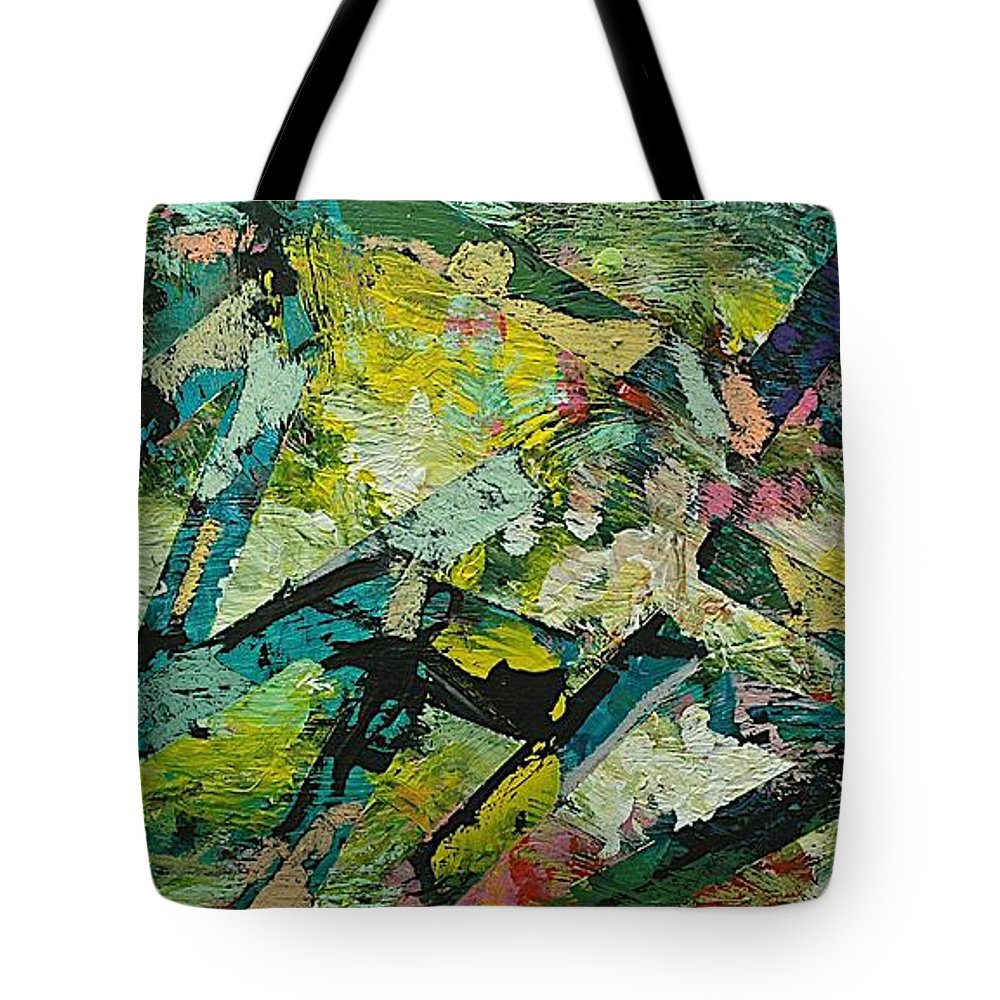 Landscape Tote Bag featuring the painting Saturday Night by Allan P Friedlander