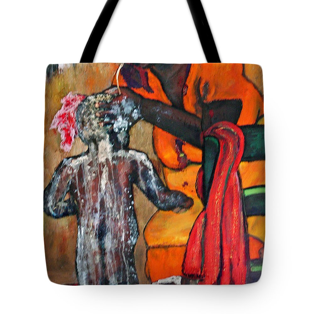Mom Bathing Boy Tote Bag featuring the painting Saturday Night Bath by Peggy Blood