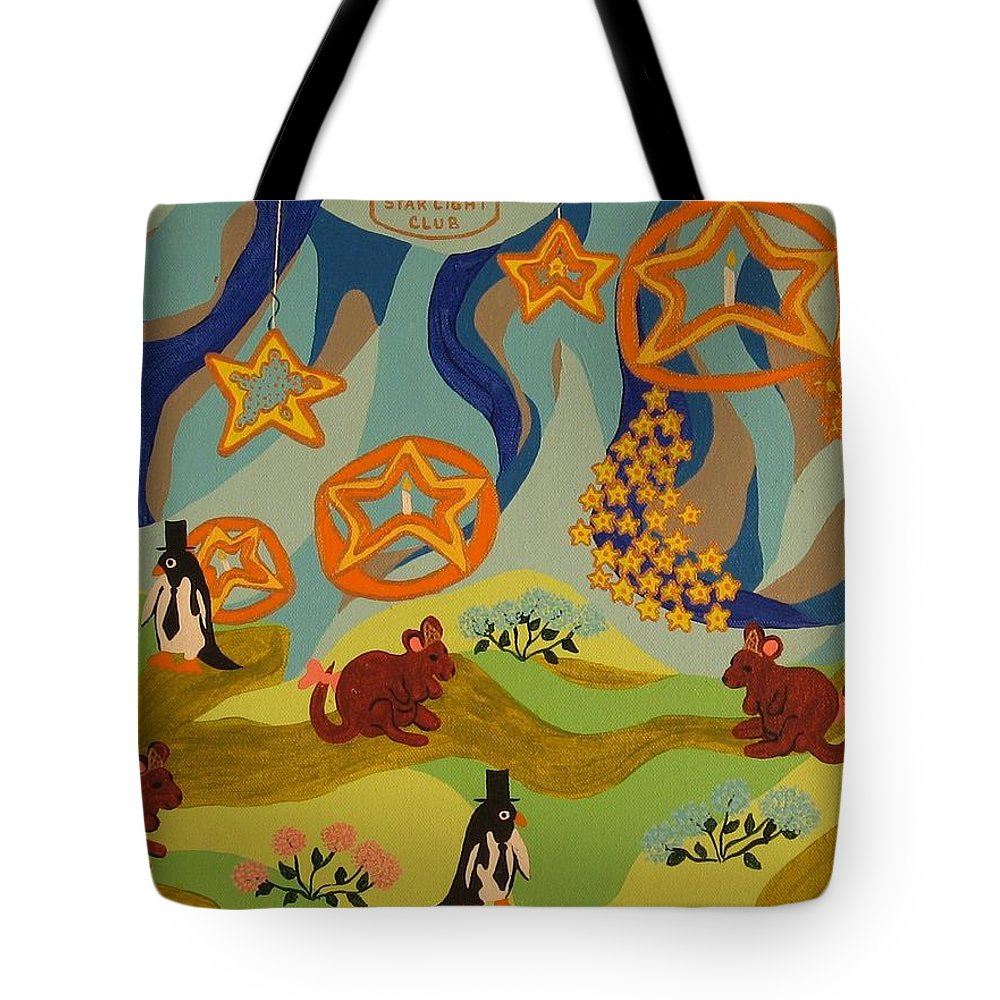 Penquins Tote Bag featuring the painting Saturday Night Out by Erika Chamberlin