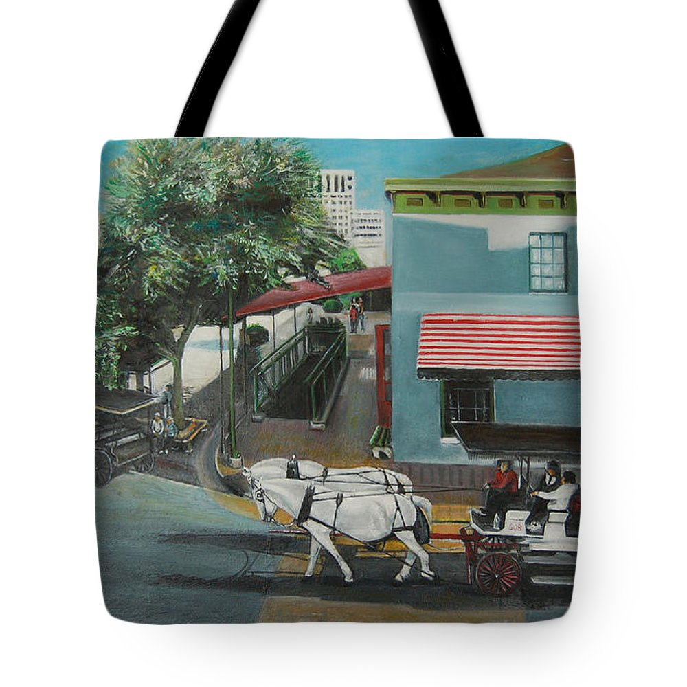Tote Bag featuring the painting Savannah City Market by Jude Darrien
