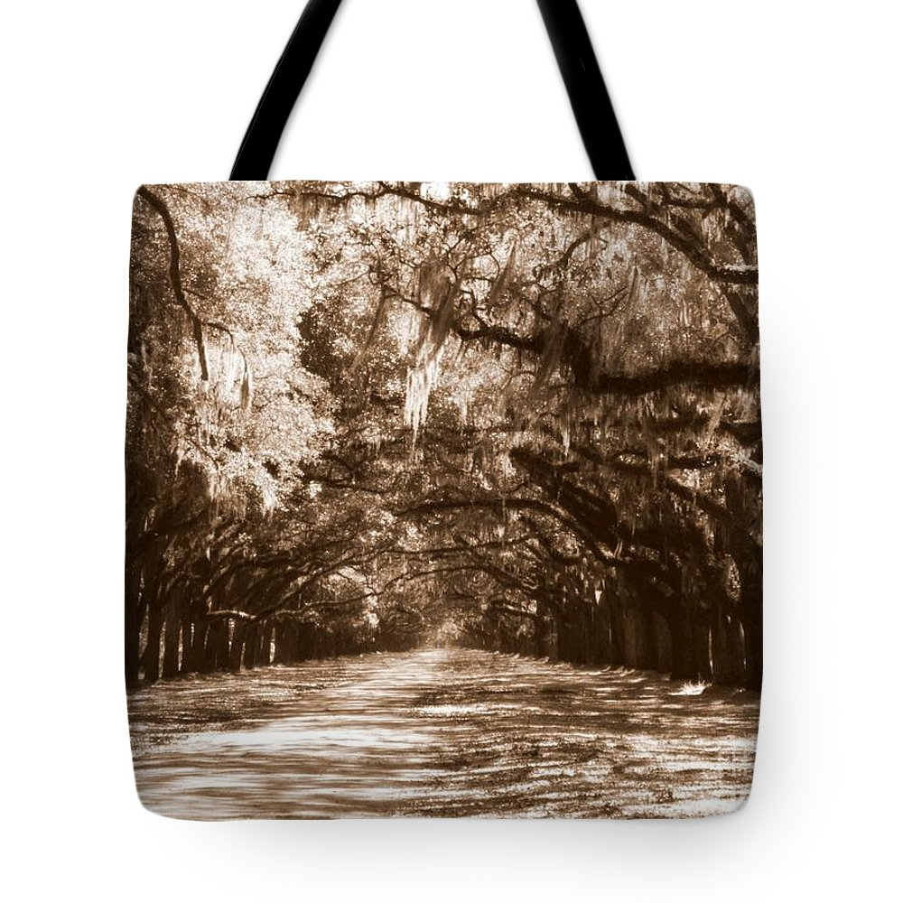 Savannah Tote Bag featuring the photograph Savannah Sepia - The Old South by Carol Groenen