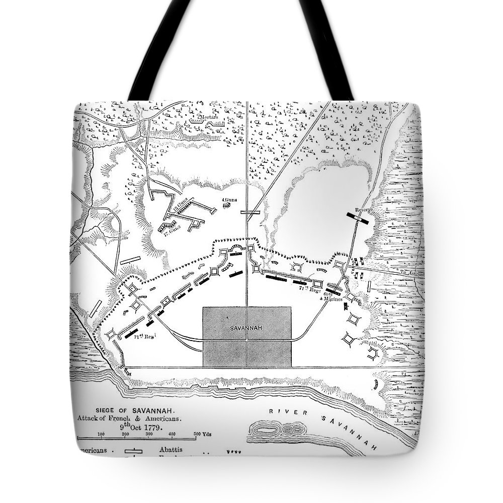 1779 Tote Bag featuring the photograph Savannah Siege Map, 1779 by Granger