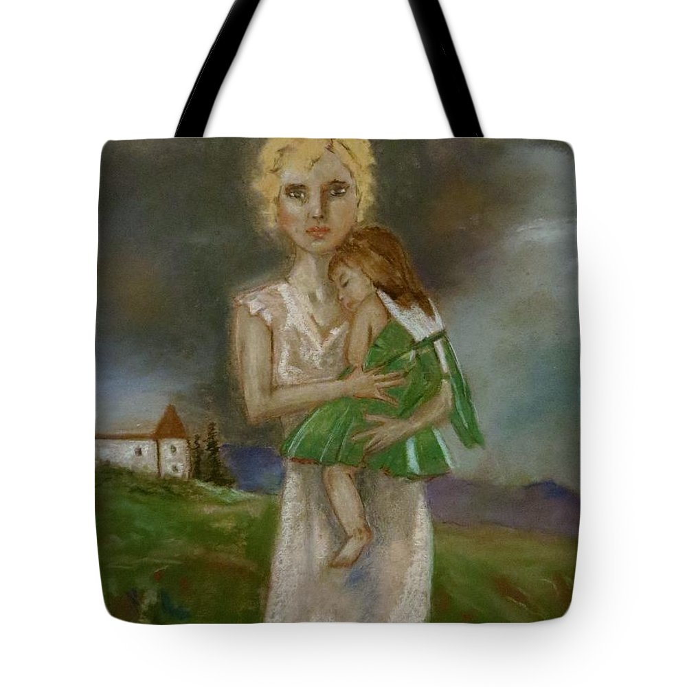 Female With Child Tote Bag featuring the pastel Saving Peggy by C Pichura