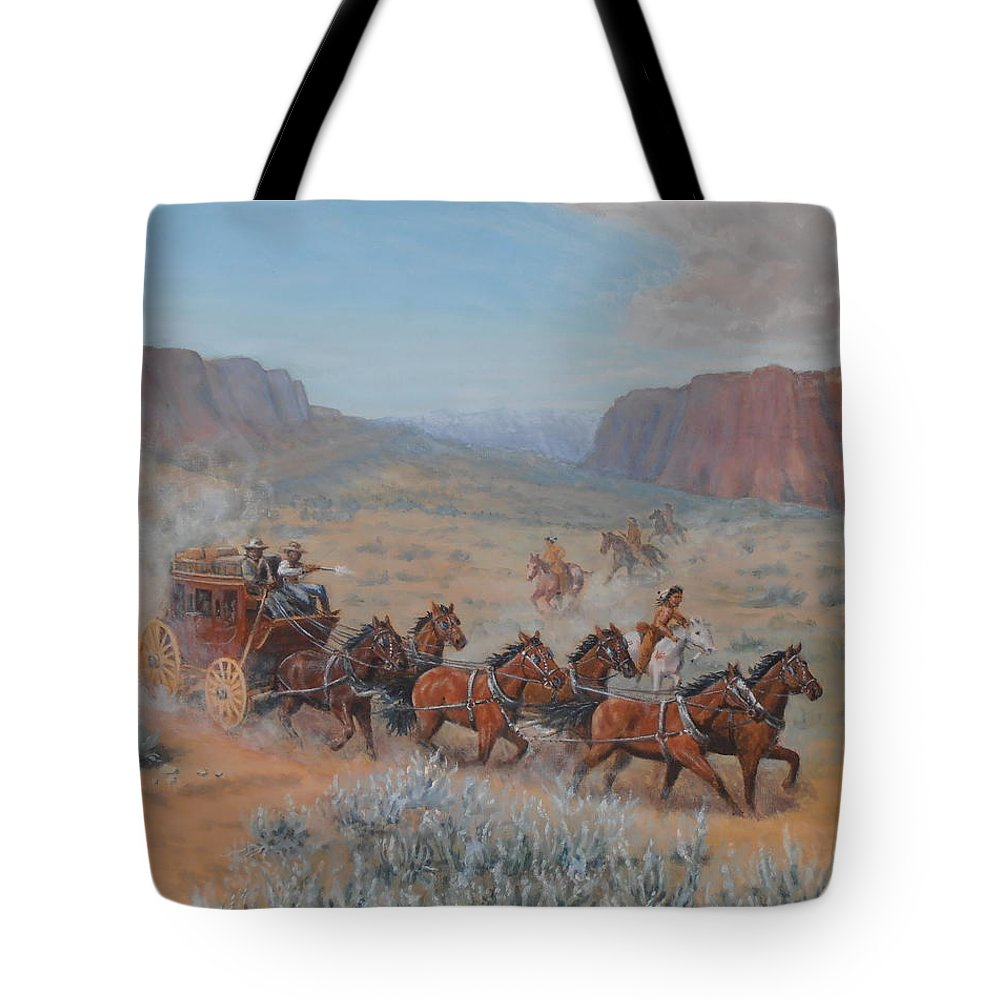 Stagecoach Tote Bag featuring the painting Saving The Nigh Leader by Elaine Jones