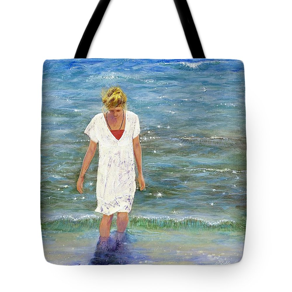Seascape Tote Bag featuring the painting Savoring The Sea by Margaret Bobb