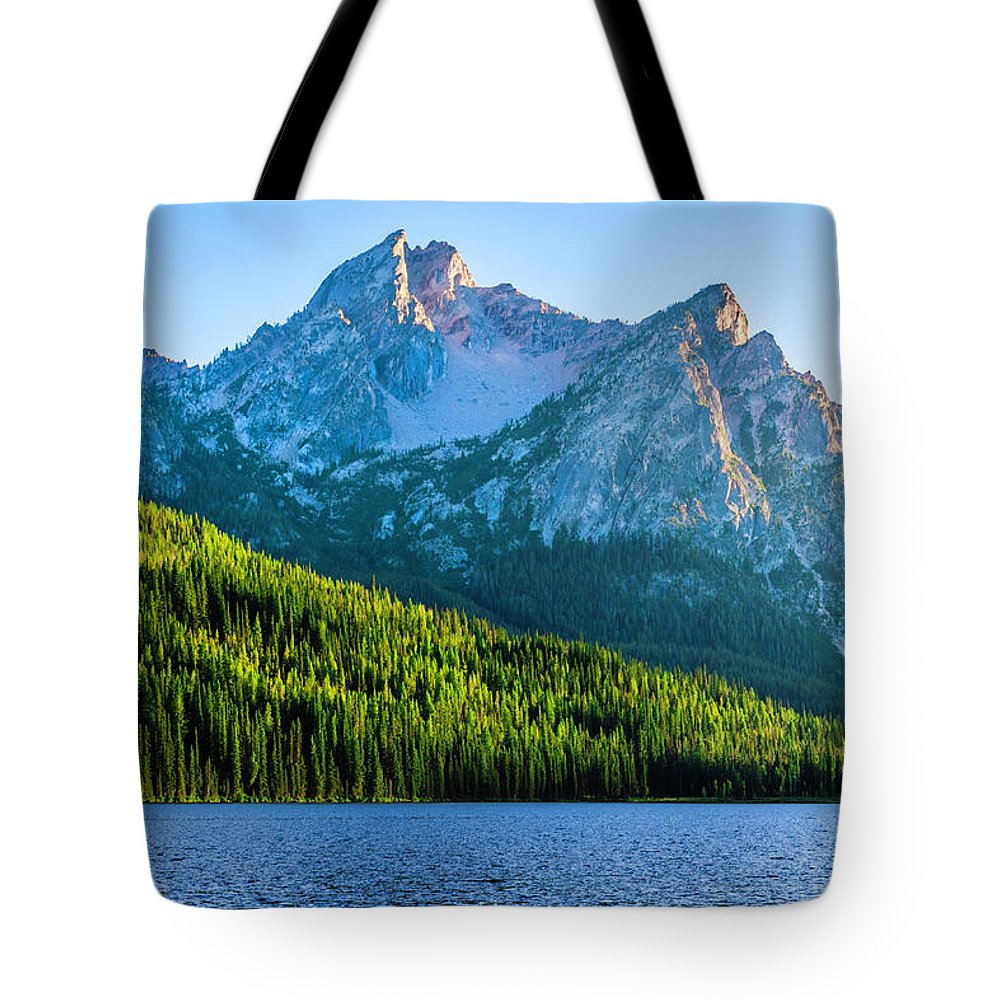 Scenics Tote Bag featuring the photograph Sawtooth Mountains And Stanley Lake by Dszc