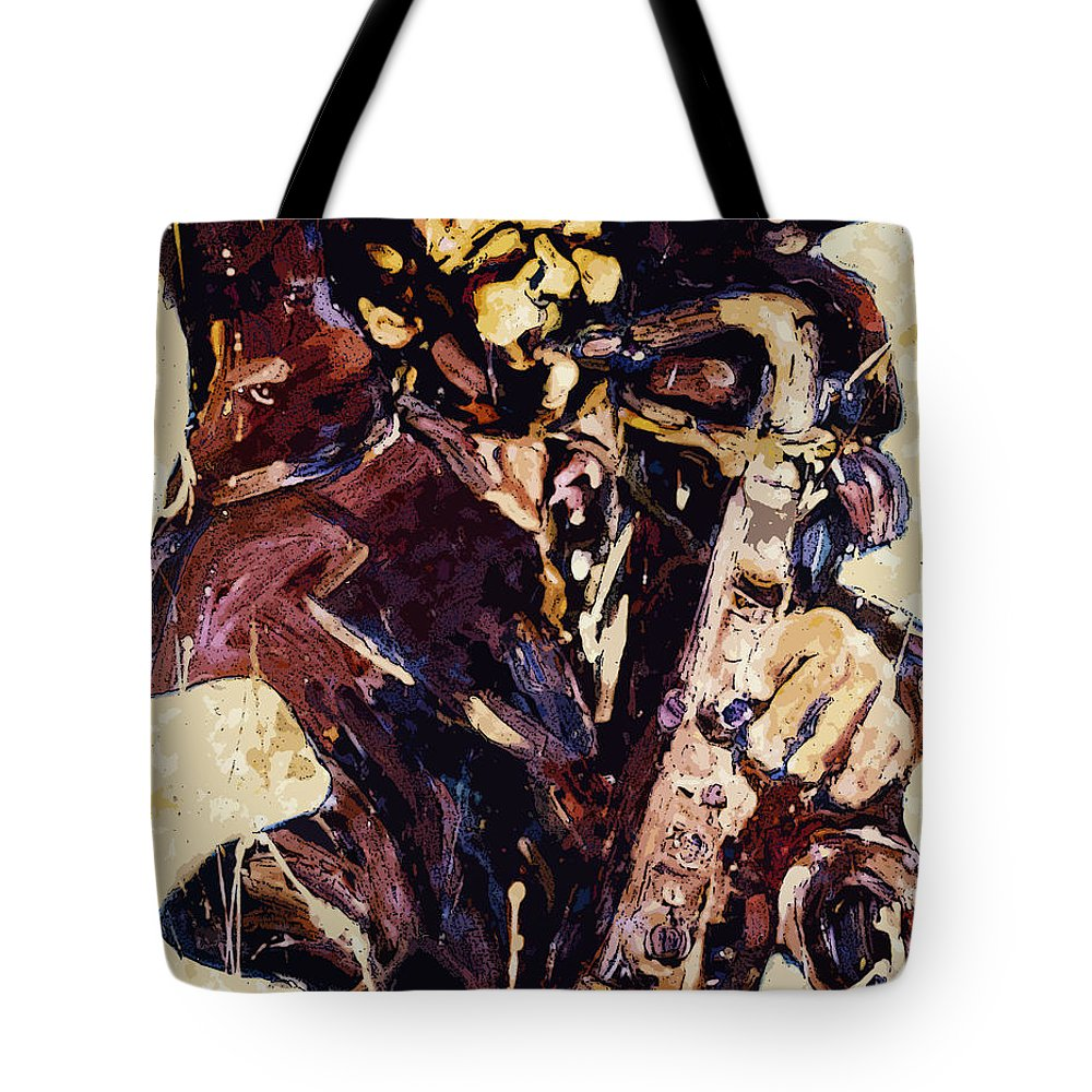 Sax Tote Bag featuring the painting Sax Man One by Faye Cummings