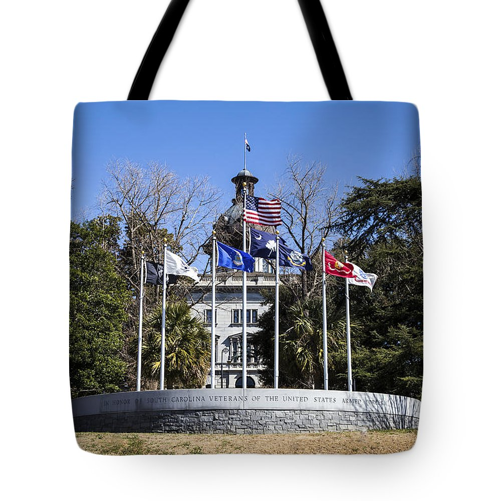 Sc Tote Bag featuring the photograph Sc Veterans Monument by Charles Hite