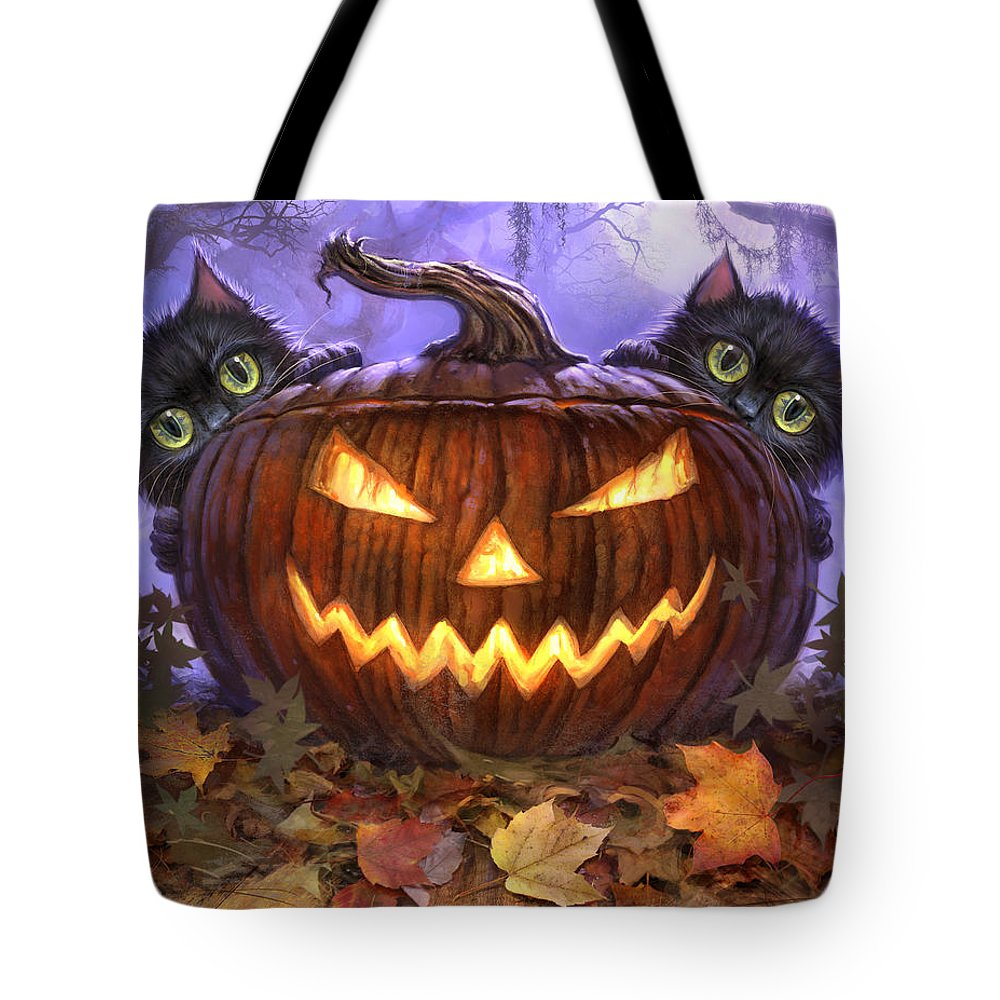 Cat Artwork. Cats Tote Bag featuring the painting Scaredy Cats by Jeff Haynie