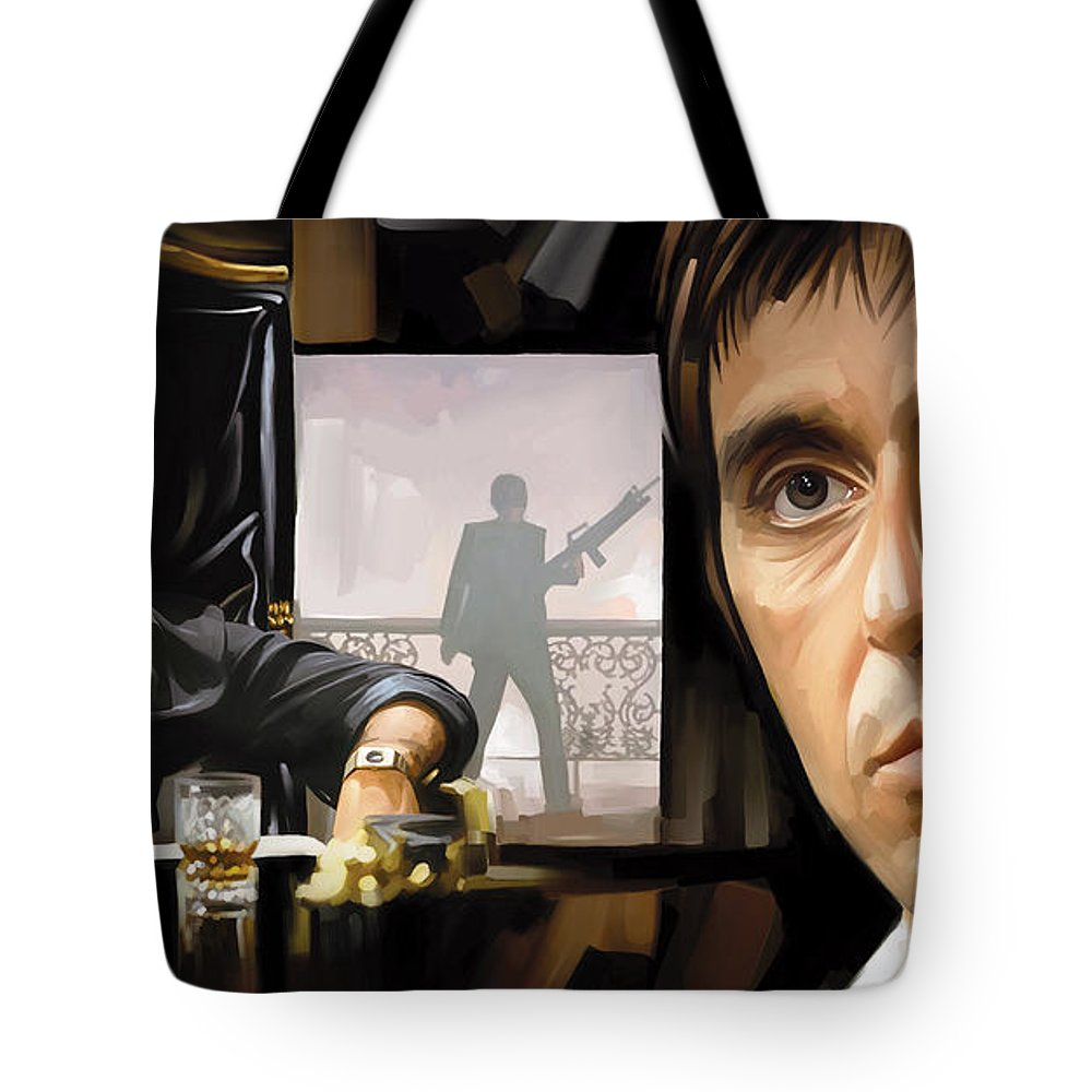 Scarface Paintings Tote Bag featuring the mixed media Scarface Artwork 1 by Sheraz A