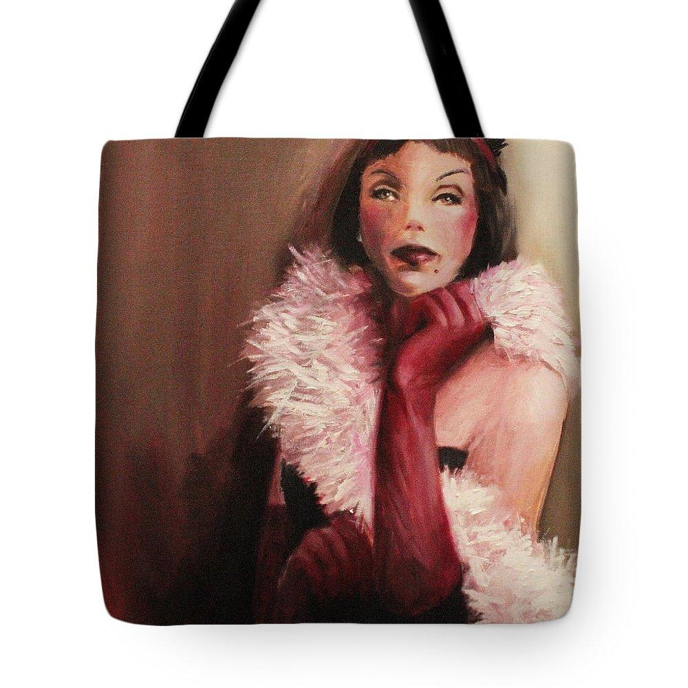 Scarlet Tote Bag featuring the painting Scarlet by Jun Jamosmos