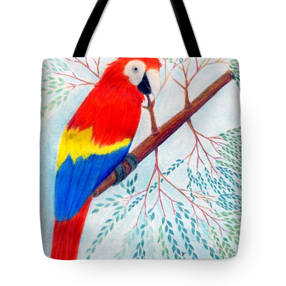 Birds Tote Bag featuring the drawing Scarlet Macaw by Greg Roberson